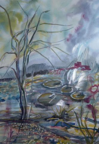 pond watercolour